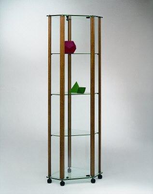 vitrinen eckvitrine standvitrine mit aluminium rahmen ma e 45x45x180 cm. Black Bedroom Furniture Sets. Home Design Ideas