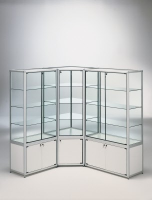 vitrine standvitrine mit aluminium rahmen und unterschrank ma e 199x42x180 cm. Black Bedroom Furniture Sets. Home Design Ideas