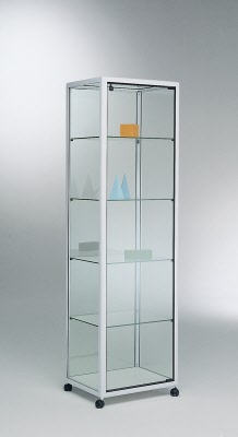 vitrine shopvitrine standvitrine mit aluminium rahmen ma e 52x42x180 cm. Black Bedroom Furniture Sets. Home Design Ideas