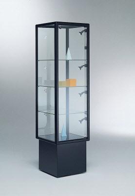 vitrine shopvitrine podestvitrine mit aluminium rahmen ma e 46x46x170 cm. Black Bedroom Furniture Sets. Home Design Ideas