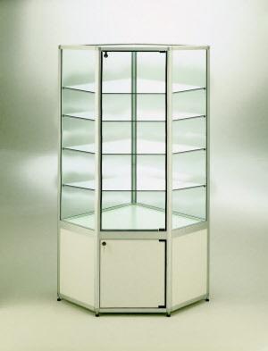 vitrine eckvitrine mit unterschrank mod 40 am 1 200. Black Bedroom Furniture Sets. Home Design Ideas